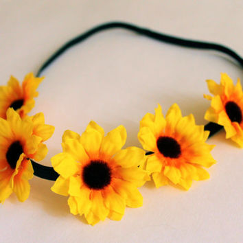 Sunflower Headband, Elastic Flower Headband, Adjustable Flower Headband, Flower Girl Headband, Yellow Sunflower Headband, Coachella Headband