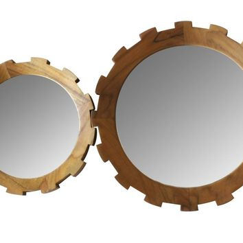 Set of 2 Master's Collection Gear Mirrors in Teak design by Selamat – BURKE DECOR