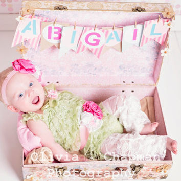 Lace Romper Set, Smash Cake Outfit, Green Romper Set, Baby Lace Romper Outfit, Photo Prop,Baby Romper Birthday Outfit