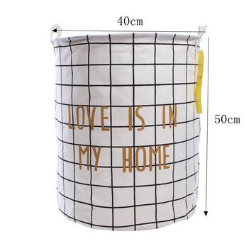 Love is in My Home White Foldable Cloth Laundry Hamper Toy Storage Basket
