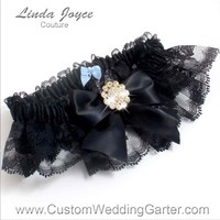 "Black and Black Lace Wedding Garter ""Penny 10"" Gold"