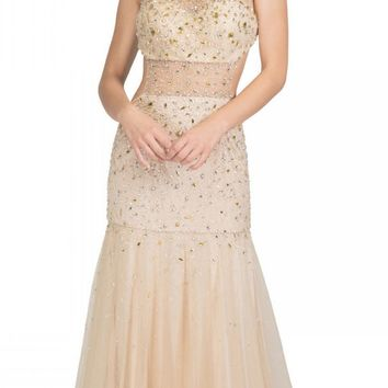 Bateau Neckline Studded Sleeveless Nude Trumpet Gown