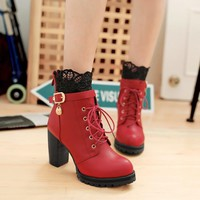 Lace Patchwork Lace UP Round Toe Middle Chunky Heels Short Boots