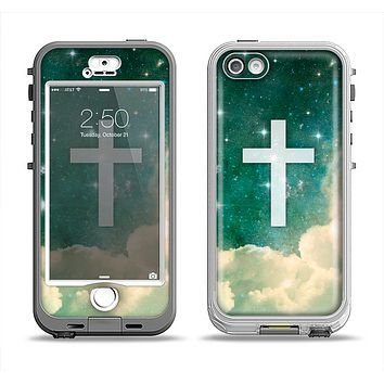 The Vector White Cross v2 over Cloudy Abstract Green Nebula Apple iPhone 5-5s LifeProof Nuud Case Skin Set