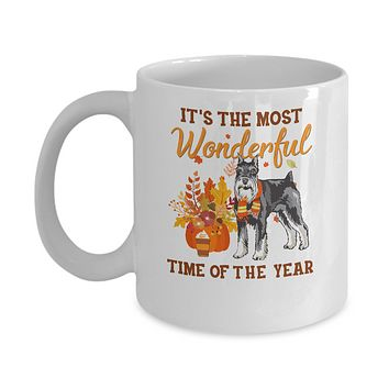 Schnauzer Autumn It's The Most Wonderful Time Of The Year Mug