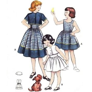 Vintage Sewing Pattern 50s Girl's Toddler Sundress Bolero Jacket size 2 Uncut Pattern Butterick 6007