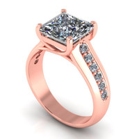 Rose Gold Engagement Ring Assher Cut 2 Ct. 10 k