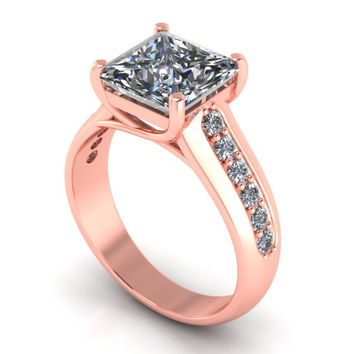Rose Gold Engagement Ring Assher Cut Genuine 2 Ct. 18 k