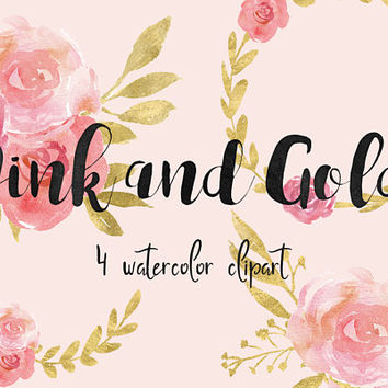 Pink and Gold | pink clipart, watercolor clipart, watercolor flowers, gold leaves, gold clipart,gold watercolor,blog pink,floral arrangement
