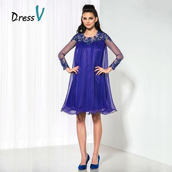 Dressv A-Line Indigo Chiffon Short Cocktail Dresses Sheer Long Sleeve Appliques Homecoming Dress Plus Size Formal Party Dress