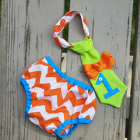 First Birthday - Cake Smash Diaper Cover Tie - Baby's First Birthday - Chevron