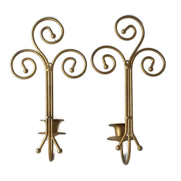 Metal Scroll Art Wall Sconce Candle Holders Pair Gold tone