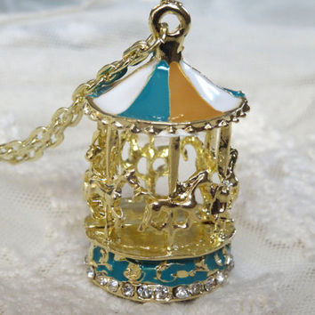 1- Carousel Necklace Golden Vintage Style Enamel Hand Painted Colorful Long Chain BuyDiy Finished Jewelry Necklace