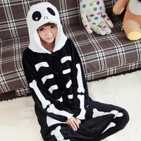 Skull Skeleton Onesuit Adult Pajama Sleepwear Kawaii
