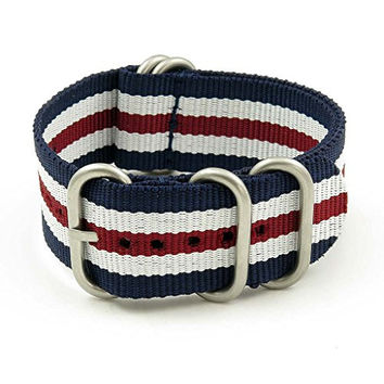 StrapsCo 20mm Navy Blue / White / Burgundy Matte 5-Ring G10 Ballistic Nylon Nato Zulu Watch Strap