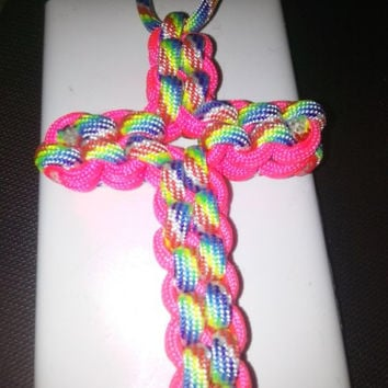 Rainbow Paracord Cross necklace / key chain / rear view mirror hanger