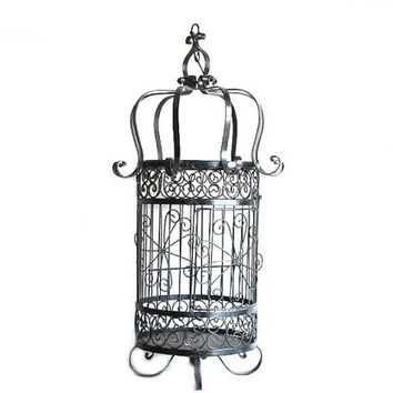 Large Fifties Black Wrought Iron Hanging Bird Cage  Retro Mid Century Modern Decor