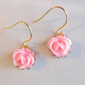 Floral hot pink earrings- pink cabbage rose dangle earrings- So sweet and adorable.