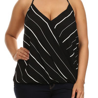 Plus Size Let's Play Striped Halter Neckline Black Tank, Plus Size Clothing, Club Wear, Dresses, Tops, Sexy Trendy Plus Size Women Clothes
