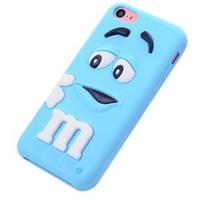 JBG Sky Blue iphone 5C Cute 3D Cartoon Milk Chocolate Bean M&M Figer Bean Soft Silicone Back Case For Apple iphone 5C