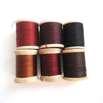 Vintage sewing thread instant collection of 6 wooden spools in hues of brown, rust, burgundy and black