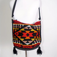 Vintage 1990s red black yellow Pendleton Style woven TRIBAL SOUTH WESTERN Print zip up bag purse tote