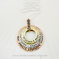 Personalized Necklace, Hand Stamped Necklace with Names, Mother Layered Necklace, Our Family Together Forever