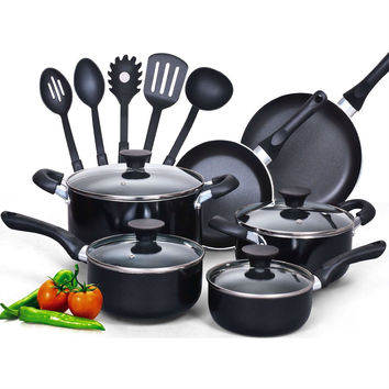 15 Piece Non-Stick Kitchen Cookware Set In Black