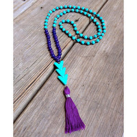 Beaded Stretch Necklace with Turquoise Beads and Colorful Tassel in Purple Coral Pink or White Chevron Boho Necklace