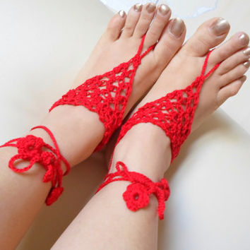 Red Barefoot Sandal, Foot jewelry, Red , Yoga, Anklet , Bellydance, Steampunk, Beach Pool, Wedding, Sexy.