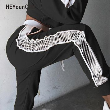 HEYounGIRL Patchwork Mesh Women Sweatpants Black White Baggy Casual Pants Hollow Out Sexy Trousers Streetwear Holes Side Pants