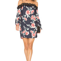 Eight Sixty Whispering Floral Dress in Black & Coral | REVOLVE