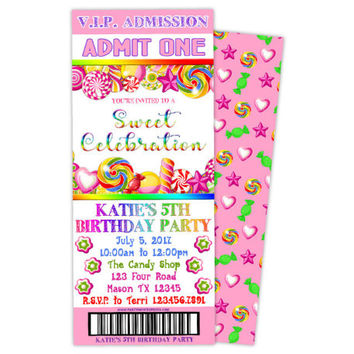 Candy Birthday Invitation - Candy Ticket Invitations - Pink Candy Birthday Party - Girl Candy Shop Party - Printed Invitations - Admit One