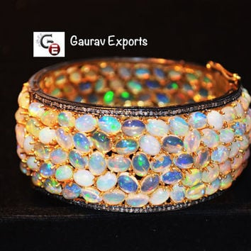 51% Discount Very Beautiful Diamond and Ethiopian Opal Hand made Bangle Bracelet in 92.5 silver, 24 karat gold polish