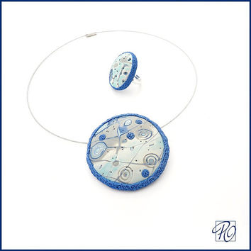 Jewelry Set Blue White Polymer Clay Dome Pendant Necklace, Cocktail Ring, Modern Art Frosty Planet Statement Jewelry Christmas Gift for Her