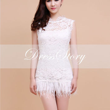 White Lace Feather Dress - Little White Dress - Lace Sheath Dress w. Eyelash Finish - White Lace Dress with Feather Trim