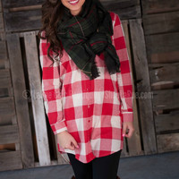 HARVEST MORNING PLAID TUNIC IN RED