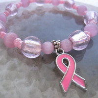 """Breast Cancer Awareness bracelet (11)   6 1/4"""", support, pink, ribbon charm, cancer awareness collection, unique visions by jen"""