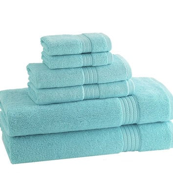 CLASSIC EGYPTIAN TOWELS | Set of 6 | Caribean Blue