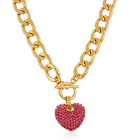 Goldtone with Pink Iced Out 3D Heart Pendant with a 16 Inch Link Chain Necklace