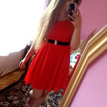 Red Sleeveless Mini Swing Dress