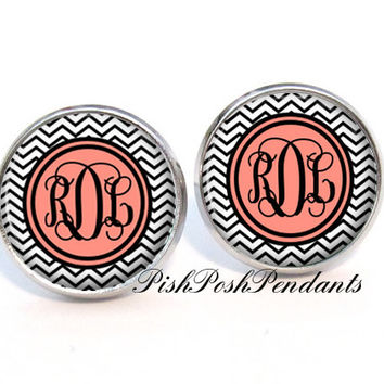 Black Chevron Monogram Earring, Monogram Stud Earrings, Monogram Jewelry (472)