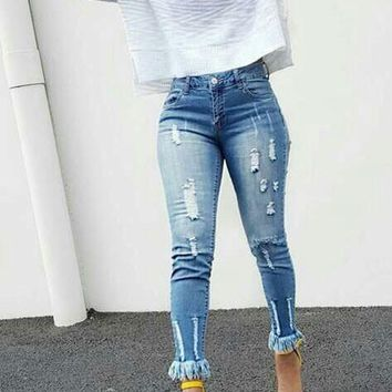 Blue Pockets Buttons Tassel Destroy Boyfriend High Waisted Mom Long Jeans