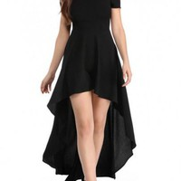 Black Irregular Swallowtail Draped Off Shoulder Prom Evening Party Maxi Dress