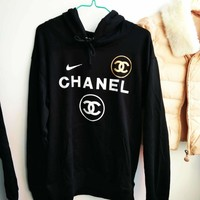 Adidas X Chanel X Nike Trending Women Men Personality Hoodie Pullover Tops Sweater Sweatshirts I