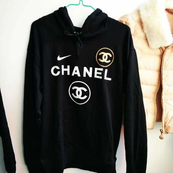 Adidas /Chanel x Nike Casual Print Hooded Pullover Tops Sweater Sweatshirts I