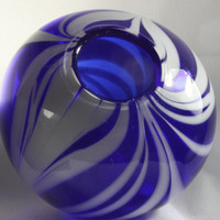 Transparent Cobalt Blue Closed Bowl With Opaque White Swirls, Hand Blown Glass Bowl - Free Shipping