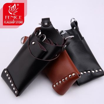 Cowleather Rivet Pet Hair Scissor Bag Clips Bag Hairdressing Barber Salon Holster Pouch Holder Case with Waist Shoulder Belt
