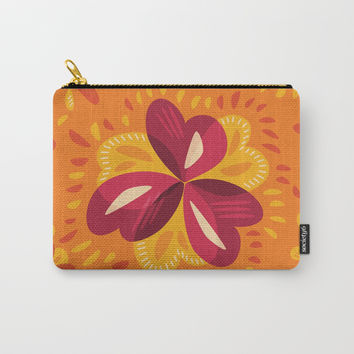 Orange And Pink Clover Abstract Floral Carry-All Pouch by borianagiormova