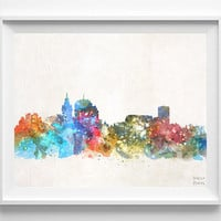 Montevideo Skyline, Uruguay, Cityscape, City Painting, Latin America, Cute, Poster, Bedroom, Illustration, Print, Watercolor, Paint [NO 564]